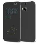 Husa Flip HTC Dot View Flip Case HC M100 pt HTC One M8 - Grey