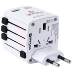 Adaptor Priza Universal Skross Travel Adapter World USB Charger - White