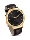 Ceas inteligent Huawei Watch W1 (compatibil Android, iOS) - Metallic Gold, Brown Leather Strap