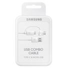 Cablu de date Samsung Combo USB EP-DG930DWEGWW (USB Type-A ~ Micro-USB & USB Type-C) - White