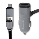 Incarcator Auto 4smarts MultiCord Car Charger Micro-USB + USB Type-C, 50cm - Black